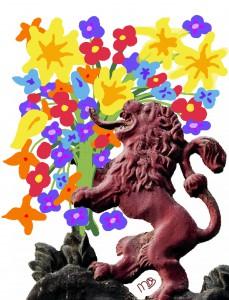 leeuw met bloemen